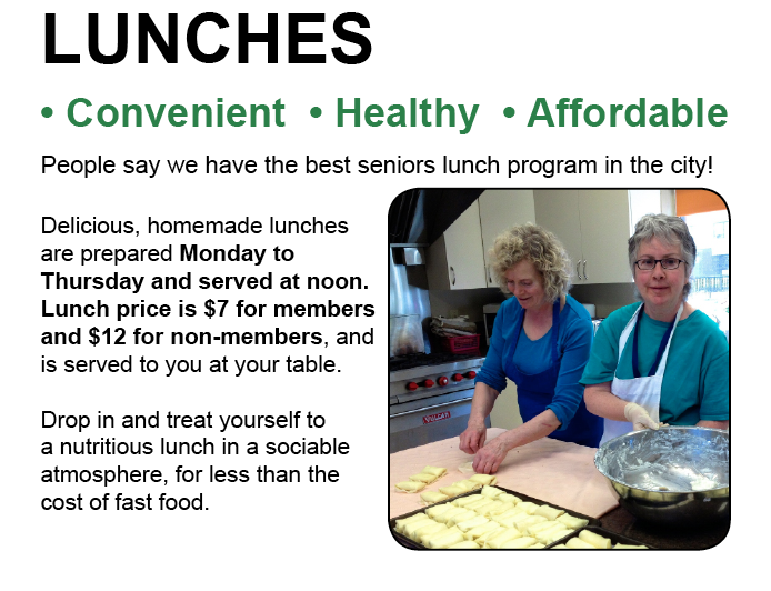 Image of chefs. Lunches are served at noon Mon - Thurs. Cost $7 for members and $12 for non-members.
